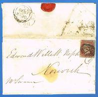 1p Rouge-brun Sur Azuré Lettres R-A (alphabet IV ??) Sur LAC  De Londres à Norwich OC23 1848. - 1840-1901 (Regina Victoria)