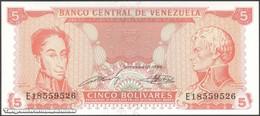 TWN - VENEZUELA 70b - 5 Bolivares 21.9.1989 Prefix E UNC - Venezuela