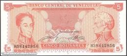 TWN - VENEZUELA 70b - 5 Bolivares 21.9.1989 Prefix H UNC - Venezuela