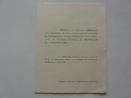 FAIRE PART MARIAGE :  CHATEAU MIREBEAU - VICOMTE Georges De BONFILHS DE LASCAMINADES - Wedding