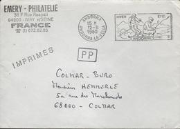 SKI-L112 - ANDORRE Flamme Illustrée Sur Lettre En Franchise Postale Illustrée Skieur Et Pêcheur 1980 - Marcophilie - EMA (Empreintes Machines)