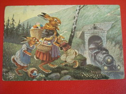 Lièvre De Paques En Famille ... Signé Arthur Thiele ( +1919 ) - Easter