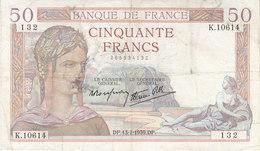 Billet 50 F Cérès Du 13-7-1939 FAY 18.28 Alph. K.10614 - 1871-1952 Antichi Franchi Circolanti Nel XX Secolo
