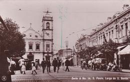 CARTE-PHOTO-BRESIL-SÄO PAULO-LARGO De S. BENTO. ATTELAGE-VOITURE ANCIENNE-ANIMATION-COMMERCES- (14/5/20) - São Paulo