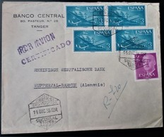 244 MAROC MARRUECOS MOROCCO MAROKKO TANGER 1956 VIÑETA CORREO AÉREO AVIÓN CERTIFICADO FRANCO CARABELA BANCO CENTRAL - Spanish Morocco