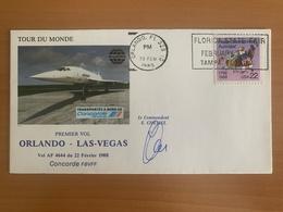 TOUR DU MONDE Concorde F.BVFF, 1er Vol, étape ORLANDO / LAS VEGAS, 22.02.1988, Signé Commandant De Bord E.CHEMEL - Concorde