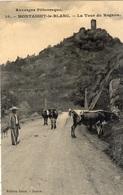 MONTAIGUT-LE-BLANC LA TOUR DU ROGNON VACHER AVEC SES VACHES (CARTE GLACEE) - Autres Communes