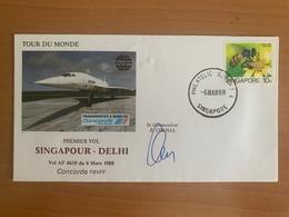 TOUR DU MONDE Concorde F.BVFF, 1er Vol, étape SINGAPOUR / DEHLI, 6.03.1988, Signé Commandant De Bord E.CHEMEL - Concorde