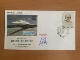 TOUR DU MONDE Concorde F.BVFF, 1er Vol, étape DEHLI / LE CAIRE, 8.03.1988, Signé Commandant De Bord E.CHEMEL - Concorde