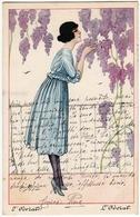 GIOVANE DONNA - L'ODORATO  - Dis. C. GIRIS - 1919 - Vedi Retro - Formato Piccolo - Otros Ilustradores