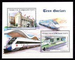2019 TURKEY TRAIN STATIONS SOUVENIR SHEET MNH ** - Blocks & Sheetlets