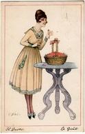 GIOVANE DONNA - IL GUSTO - LE GOÛT - Dis. C. GIRIS - 1919 - Vedi Retro - Formato Piccolo - Otros Ilustradores