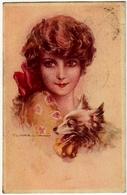 RITRATTO GIOVANE DONNA CON CANE - Dis. T. CORBELLA - 1919 - Vedi Retro - Formato Piccolo - Corbella, T.