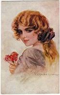 RITRATTO GIOVANE DONNA CON FIORI - Dis. T. CORBELLA - 1919 - Vedi Retro - Formato Piccolo - Corbella, T.