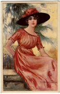 ELEGANTE GIOVANE DONNA - Dis. T. CORBELLA - 1918 - Vedi Retro - Formato Piccolo - Corbella, T.