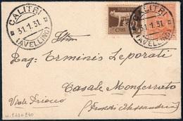 REGNO BUSTA BIGLIETTO DA VISITA DA CALITRI X CASALE MONFERRATO C. 5 IMPERIALE + 15 PARMEGGIANI - SASSONE 243 / 240 - Storia Postale