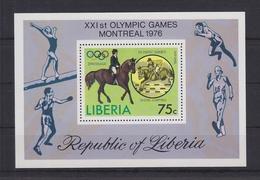 Liberia Block 80A Mit 996 ** Postfrisch Reiten Pferde Olympia 1976, Liberia MNH #U719 - Liberia