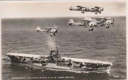 Transport Ships Military Navy Naval Boat Postcard Hms Ark Royal Raf Aeroplane - Guerra
