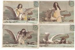 Lot 4 Cartes Postales Leda Et Le Cygne  Femme Mythologie Grecque Cpa Carte Fantaisie Serie 522 Cachet 1906 - Women