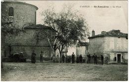 CPA Saint-Amadou 09. La Place. Animée, 1910 - Andere Gemeenten
