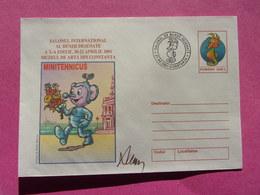 Entier Postal Minitehnicus Salon De La BD Musée D'art De Constanta Hippocampe Seahorse AL BENZII DESENATE 2001 - Bandes Dessinées