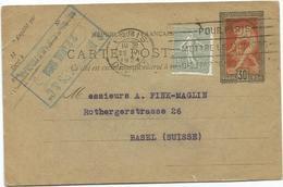 ENTIER 30C MILON DE CROTONE JEUX OLYMPIQUES PARIS 1924+15C SEMEUSE PARIS 22.7.1924 POUR SUISSE RARE - Entiers Postaux