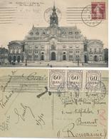 1922 ROUMANIE TAXA DE PLATA 60 Bani X 3 Ol BUCAREST CP De FRANCE Affrt SEMEUSE 20c TAXE DUE - Poststempel (Marcophilie)