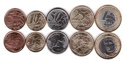 Brazil - Set 5 Coins 5 10 25 50 Centavos + 1 Real 2018 UNC Lemberg-Zp - Brasil