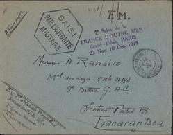 FM Tananarive Madagascar 18 OCT 1939 Guerre Censure Saisi Par L'autorité Militaire + Cachet 2me Salon France D'Outre Mer - Madagascar (1889-1960)