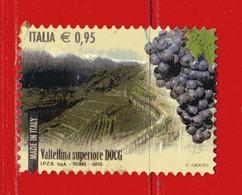 Italia °- 2015 - Made In Italy VINI DOCG - Valtellina Superiore. Unif. 3693. Usato - 2011-...: Oblitérés