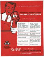 MASSEY FERGUSON - Publicité Sur L'utilisation Des Pièces D'origine - Années 50 - Tracteurs
