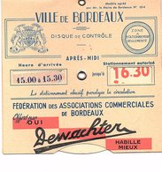 DISQUE DE CONTROLE DE STATIONNEMENT BORDEAUX DEWACHTER Habille Mieux - Publicités