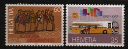 Suisse Helvetia 1987 N° 1269 / 70 Inc ** Car, Autocar, Bureau De Poste Mobile, Université, Lausanne, Mathématique Chimie - Ongebruikt