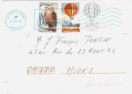 LOURDES Lettre 3,00 F Montgolfière 65c Grand Duc  Yv 2262 1694 - Lettres & Documents