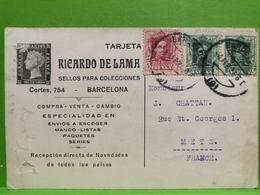 Tarjeta Postale, Ricardo De Lama Barcelone Sended To Metz - Interi Postali