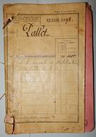 CARNET MILITAIRE PALLOT CLASSE 1898 PALINGE OUDRY PERRECY LES FORGES 1900 LANGRES INFANTERIE - Vieux Papiers