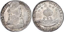 8 Soles, 1827, PTS JM, KM 97, Kratzer Auf Dem Revers, Vz-st.  Vz-st - Bolivia