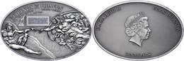 5 Dollars, 2012, Ceilings Of Heaven, Sistine Chapel Ceiling, 999er Silber, Antik Finish, Stein, In Kapsel Mit Zertifikat - Cookeilanden