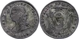 2 Reales, 1849, GJ, KM 33, Ss.  Ss - Ecuador