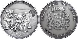 1.000 Francs, 2013, Africa - Babylöwen, 1 Unzen Silber, Antik Finish, In Kapsel Mit Zertifikat, St. Auflage Nur 2.000 St - Congo (República Democrática 1964-70)