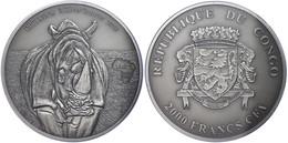 2.000 Francs, 2013, Africa - Nashorn, 3 Unzen Silber, Antik Finish, In Kapsel Mit Zertifikat, St. Auflage Nur 500 Stück. - Congo (República Democrática 1964-70)