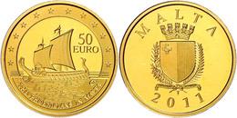 50 Euro, Gold, 2011, Europäische Forschungsreisende-Phönizisches Segelschiff, 916er Gold, 5,95 G Fein, Fb. 77, KM 143, I - Malta