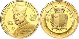 50 Euro, Gold, 2013, Europäische Schriftsteller-Dun Karm Psaila, 916er Gold, 5,95 G Fein, Fb. 79, In Kapsel Mit Zertifik - Malta