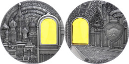 10 Dollars, 2012, Mineral Art - Kreml Moskau, 2 Unzen Silber, Antik Finish, Stein, In Kapsel Mit Zertifikat, St. Auflage - Palau
