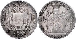 8 Reales, 1823, Lima, JP, KM 136, Kl. Rf., Schrötlingsfehler, Ss.  Ss - Peru