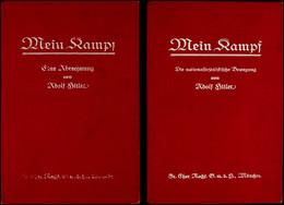 """MEIN KAMPF ERSTAUSGABEN, Adolf Hitler, Band 1 Und Band 2, Gebundene Ausgaben, Rot, Band 1: """"Mein Kampf-Eine Abrechnung V - Catálogos"""