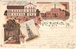 Gruss Aus MARNITZ Color Litho Molkerei Gasthof Stüwe Quelle Aussichtsturm Gelaufen 11.4.1898 - Parchim