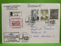 Luxembourg, Lettre Recommandé Envoyé à Leverkusen 1980 Ferphilex 80 - Storia Postale