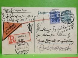 Allemagne, Recommandée Oblitéré Crefeld Sended To Esch-Alzette 1912 - Ganzsachen