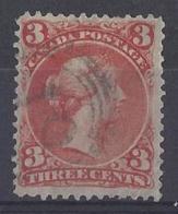 """CANADA.....QUEEN VICTORIA...(1837-01)......"""" 1868..""""......3c .....SG49.....OTTAWA PRINTING........VFU... - Usados"""